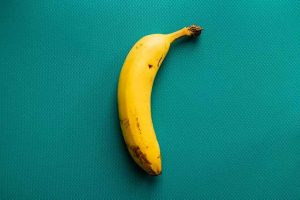 banana on a green background