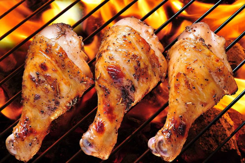 Three grilled chicken legs