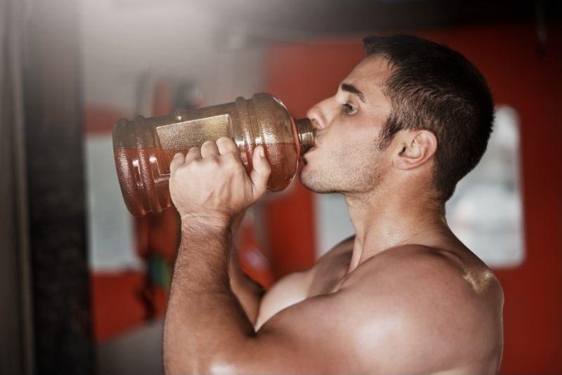 Man drinking pre workout