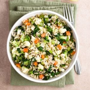 bowl of rice with some vegetables